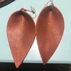 Leather petal earrings Joanna Gaines New